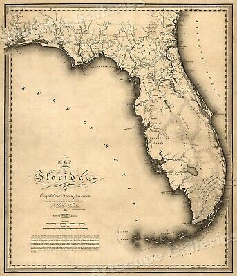 Florida 1823 Historic Decorative Wall Map - 16x20