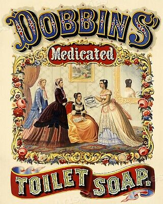 1860s Medicated Toilet Soap Classic Vintage Advertising Poster - 20x24