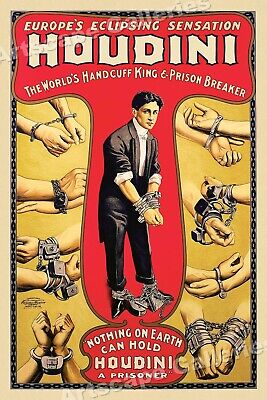 Houdini Handcuff Escape Trick 1920's Classic Magic Poster - 20x30