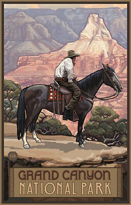 Retro Poster-Grand Canyon NP-Cowboy On Horse (PAL-0378)
