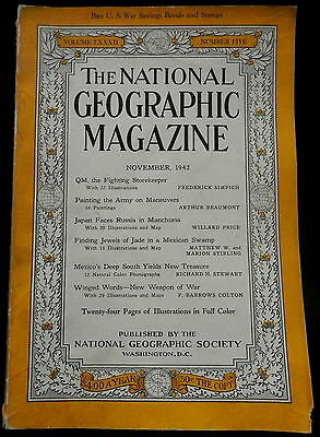 National Geographic Magazine November 1942 MILITARY - JAPAN-RUSSIA - MEXICO More