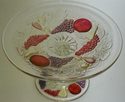 """Westmoreland Della Robbia Ruby Amethyst Stain Clear Glass Footed 6 1/2"""" Compote"""