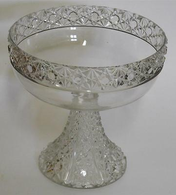 """EAPG Bartholdi Daisy & Button Band ~ Clear Compote Comport  O'Hara Glass 8"""" x 8"""""""
