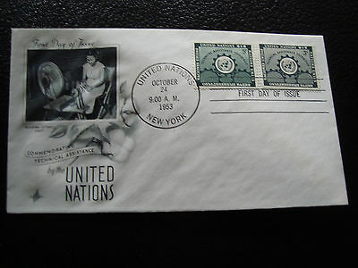 NATIONS-UNIES (new-york) - enveloppe 1er jour 24/10/1953 (cy56) united nations