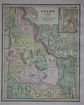 1887 Idaho Antique Color Atlas Map** ...with area & Pop. .... 128 years-old!!