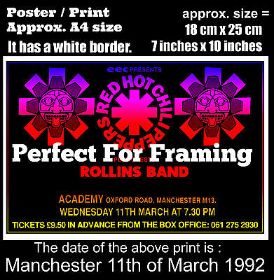 Red Hot Chili Peppers live concert Manchester 11 March 1992 A4 size poster print