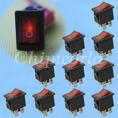 10pcs On-Off Button Red 4 Pin DPST Boat Rocker Switch 250V AC 21*15MM new
