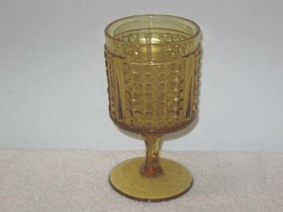 """RICHARDS & HARTLEY  """"THREE PANEL""""  AMBER WATER GOBLET"""