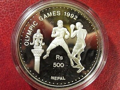1992 Nepal Large Silver Proof  500 Rs-Olympic Boxing