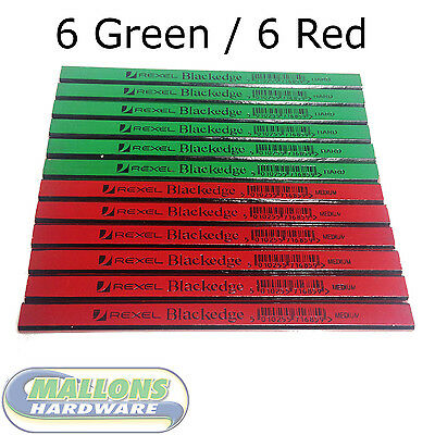 Rexel Blackedge Carpenters Pencil 6 Green 6 Red