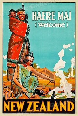 1920 Maori Welcome to New Zeland Vintage Style Travel Poster - 16x24