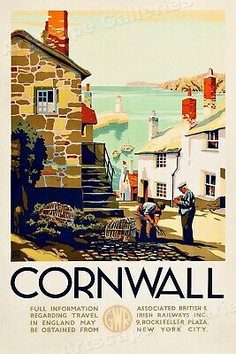 Cornwall England Classic 1930s Travel Poster - 24x36