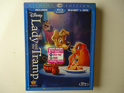 Lady and the Tramp (Blu-ray/DVD, 2012, 2-Disc, Diamond Edition) NEW w/slipcover