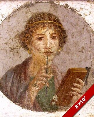 Ancient Pompeii Roman Fresco Woman Portrait Painting Rome Art Real Canvas Print