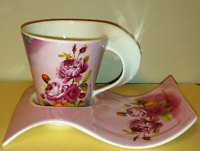 NEW CUSTOM TEA CUP AND SAUCER SET PINK ROSES AND SAUCER, BRAND NEW IN BOX GIFT