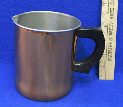 Vintage Copper Plated Breakfast Milk Pitcher Creamer Black Handle