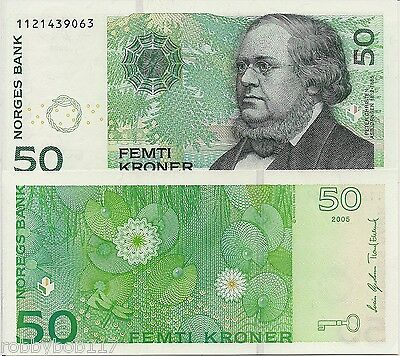 NORWAY 50 Kronor Banknote World Money Currency Europe Note p46c 2005 Bill No Pre