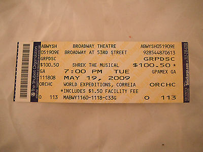 Shrek the Musical Unused Ticket Broadway Theatre NYC May 19 2009