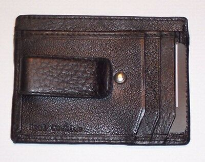 """Black Leather Money Clip / Wallet with ID Window and Card Pockets - @4 1/8"""" x 3"""""""