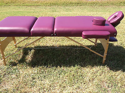 """Luxury 4"""" 3 Section Purple PU Portable Massage Table/Bed with Carry Case SL34PL"""