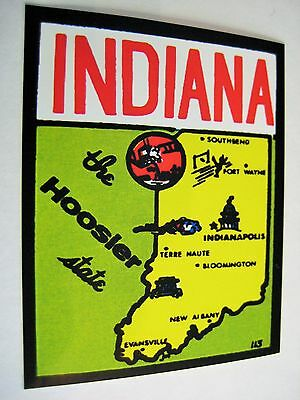 Indiana The Hoosier State Vintage Style Decal / Sticker Laptop Car Locker Wall