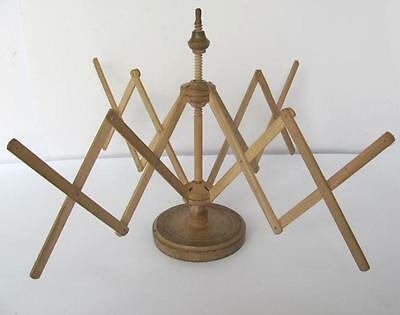 19C. Antique Primitive Handcrafted Folding Wooden Stand For Woolen Yarn Thread