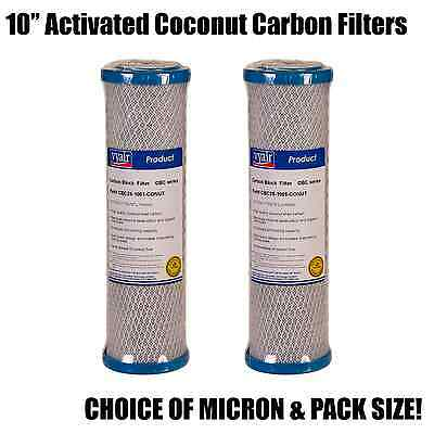 """10"""" Activated Coconut Carbon Block Filter - Choice of Micron - Packs of 5 or 10"""