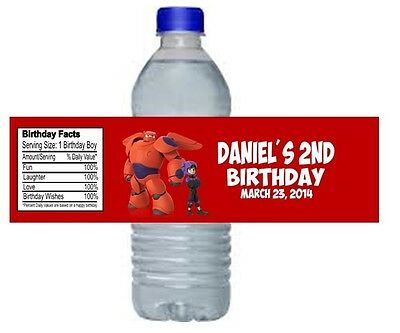 Big Hero 6 Birthday Party Water Bottle Labels Favors Personalized Custom