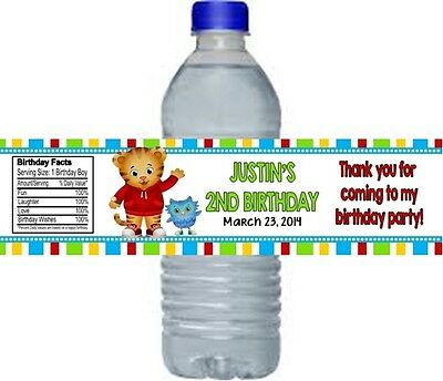 Daniel Tiger Birthday Party Water Bottle Labels Favors Personalized Custom