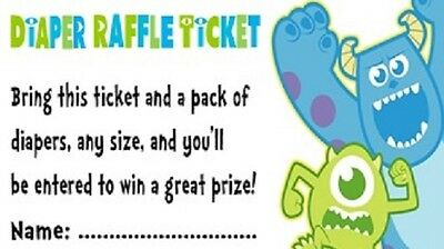 Monster Inc Baby Shower Diaper Raffle Tickets Party Favors Cards