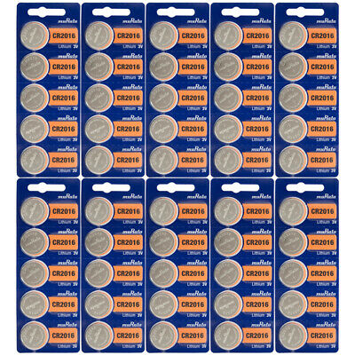 50 Genuine SONY CR 2016 Lithium 3v Coin Cell Batteries Size CR2016