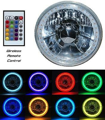 """5-3/4"""" Multi-Color Halo H4 Bulb Headlight RGB SMD LED Fits: Harley Motorcycle"""