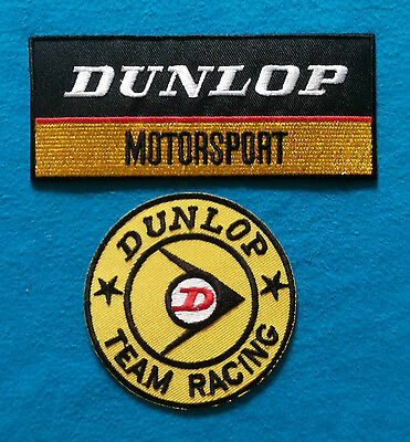 2  Lot DUNLOP MOTORSPORTS Embroidered Iron On Patches W/ FREE SHIPPING