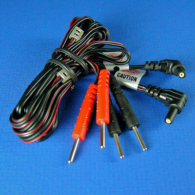 TENS & EMS Lead Wires - Standard Machine Connection 1 Pair of Robust Black Leads