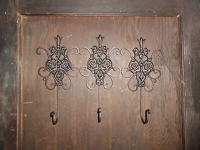 Cast Iron Fleur de lis lotus flower very danty 3 prong wall hook towel coat rack