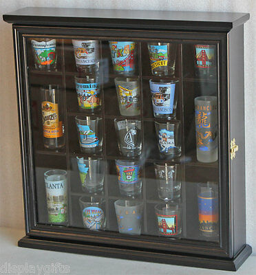 21 Shot Glass Display Case Wall Curio Cabinet with glass door - BLACK, SC01-BLA