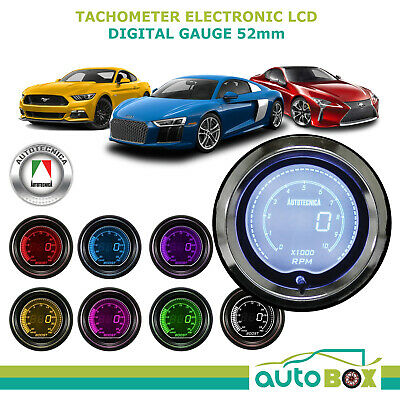 TACOMETER 52mm Electronic Digital LCD Gauge by Autotecnica Turbo 7 Colour Tacho