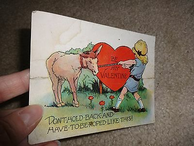 "Vintage Valentine's Card - Used Postcard ""Be My Valentine don't Hold Back and.."