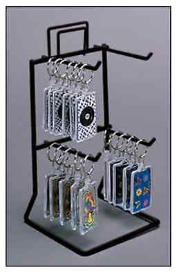 For Sale Counter Key Chain & Small Product Display Rack - 2 Tier 4 Peg (Black)