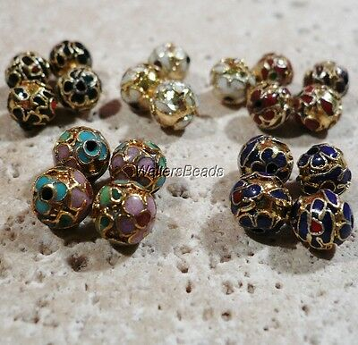Cloisonne Round Beads Gold Black Green Blue White Pink Mix of 20 Beads (5x4)