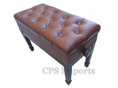 Duet Size GENUINE LEATHER Walnut Adjustable Artist Piano Bench/Stool/Chair