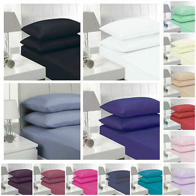 Egyptian Poly Cotton Fitted Sheets Mattress Fitted Sheet & Pillowcases All Sizes