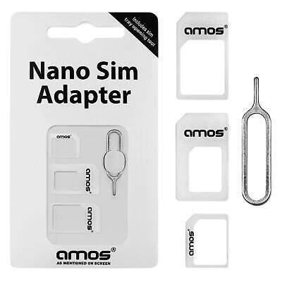 AMOS 4 in 1 Nano to Micro & Standard SIM Card Adapter Converter for iPhone 6 5S
