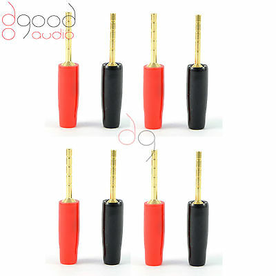 8 x Gold Plated Speaker Pins 2mm Banana Plug Quality Screw Terminal Connectors