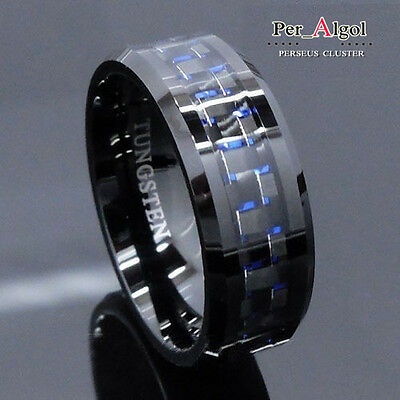 Men's jewelry Tungsten Ring with Carbon Fiber 8mm Black and Blue Wedding Band