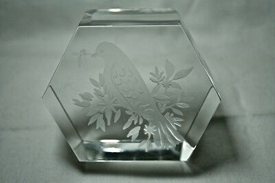 RARE Baccarat Etched LIMITED EDITION Bird Paperweight, #30 of only 250 issued