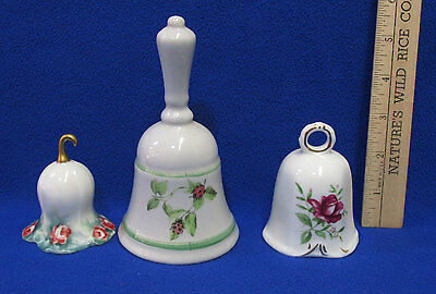 Vintage Hand Dinner Bells Ceramic Porcelain Ladybug Rose & Lily Designs  Lot 3