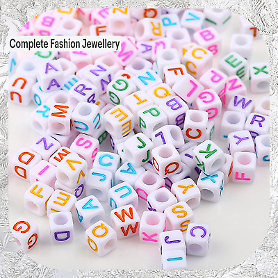 100 Acrylic SINGLE LETTER A-Z White/Multi CUBE & FLAT ROUND Alphabet Beads 6MM