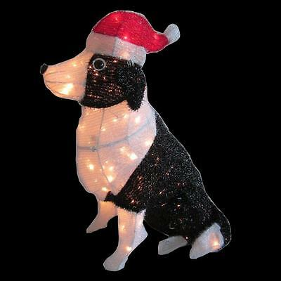 Home Accents Holiday 30 in. 150-Light Tinsel Dog with Santa Hat