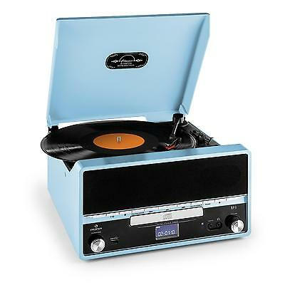Retro Vinyl Record Player Blue Fm Radio Cd Mp3 Stereo System Usb Recording Mode